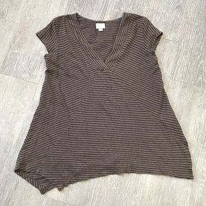 Postcard Anthropologie Small Brown Striped Top